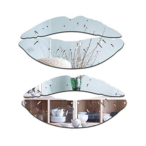 2 juegos de adhesivos grandes para espejo de labios, 3D removibles en forma de corazón para pared, papel pintado acrílico para sala de estar, baño, decoración del hogar (plata)