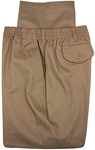 Falcon Bay Big & Tall Men's Casual Twill Pants Full Elastic Waist (50W X 28L, Khaki)