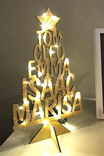 Albero di Natale con nome di famiglia inciso Albero di Natale in legno personalizzato Decorazione per albero di Natale con nome(Albero)