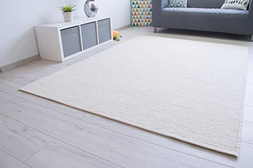 Steffensmeier Handweb Teppich Ettal | Wolle (Schurwolle) gewalkt, Creme, handgewebt, Größe: 60x110 cm Wohnzimmer und Schlafzimmer, GOTS zertifiziert