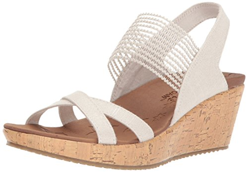 Skechers Cali Women's Beverlee-High Tea Wedge Sandal,natural,9 M US