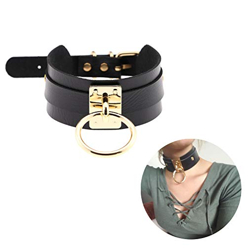 Black Choker Necklace Classic Punk Goth Choker Gothic PU Leather O-Ring Collar Choker Metal for Girls Women Gold Color