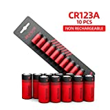 Bevigor CR123a Lithium Batteries 3v 123 Lithium Batteries(10-Pack),1500mAh Long Lasting Lithium Battery Photo Batteries for Cameras Alarms Sensors Flashlight Microphones【Non-Rechargeable】
