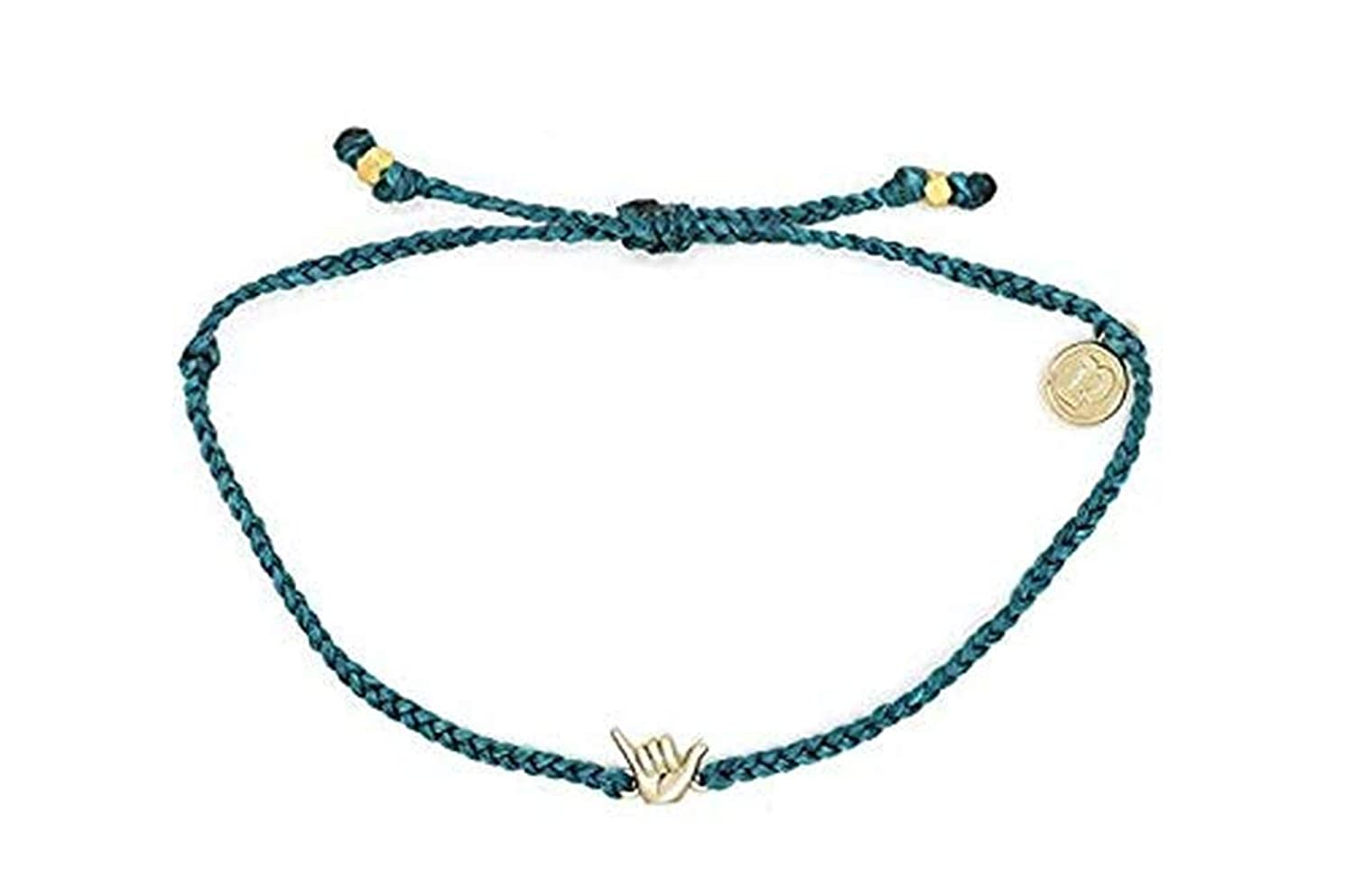 Pura Vida Gold Shaka Bracelet - Gold-Plated Charm, Adjustable Band - 100% Waterproof