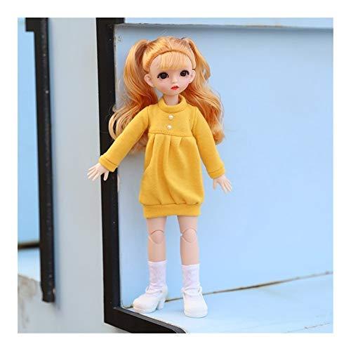 GQDZ 12-Zoll-Puppe 30cm 1/6 Makeup verkleiden Puppen mit der Mode-Kleidung for Mädchen-Spielzeug-Geschenke Kinder Spielzeug (Color : Yellow curly C1)