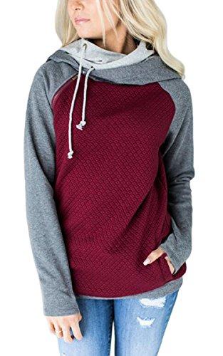 ECOWISH Damen Kontrastfarbe Pulli Pullover Rollkragen Sweatshirt Kapuzenpulli Top Hoodies Weinrot M