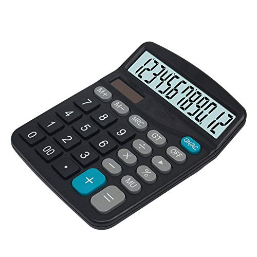 Calculator, Standard Function Desktop Calculator, Solar Battery Dual Power Basic Office Calculators, Black