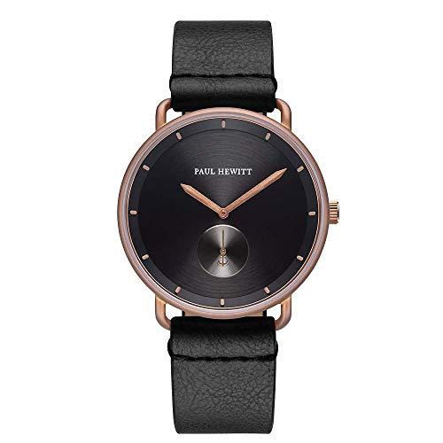 PAUL HEWITT Armbanduhr Männer Edelstahl Breakwater Black Sunray - Herren Uhr Lederarmband (Schwarz), bronzefarbene Herren Armbanduhr, schwarzes Ziffernblatt