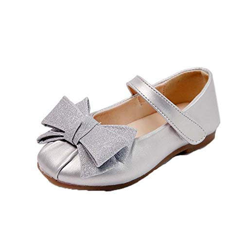 Zapatos de Cuero de Princesa para niñas Zapatos de Mary Jane con Punta Redonda y Plana Zapatos de Vestir con Lazo Bonito y Suela Suave para niños