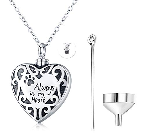 Heart Cremation Jewelry Sterling Silver Urn Necklace for Ashes Dog Pet Always in My Heart,Heart Locket Memorial Ashes Keepsake Pendant Necklace Gift with Funnel Kit,Funeral Ash Necklace for Women …