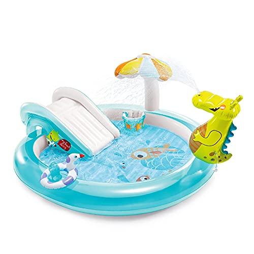 Piscina Gonfiabile del Giocatore di Gioco del Paradiso del Paradiso del Coccodrillo Piscina per Bambini con scivoli Baby Spruzzi della Piscina Adatti per Bambini Oltre Due Anni (Color : Blue)