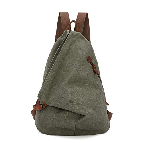 Canvas Vintage Backpack – Large Casual Daypack Outdoor Travel Rucksack Hiking Backpacks for Men Women (Olive Green)