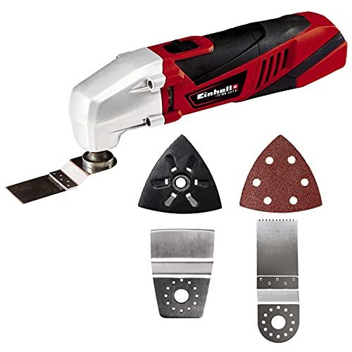 Einhell Multifunktionswerkzeug 4465095(220 Watt, Drehzahl-Elektronik, Softgrip, magnetische 4-Pin-Werkzeugaufnahme, inkl. Staubabsaugadapter, Dreieckschleifplatte, 1x...