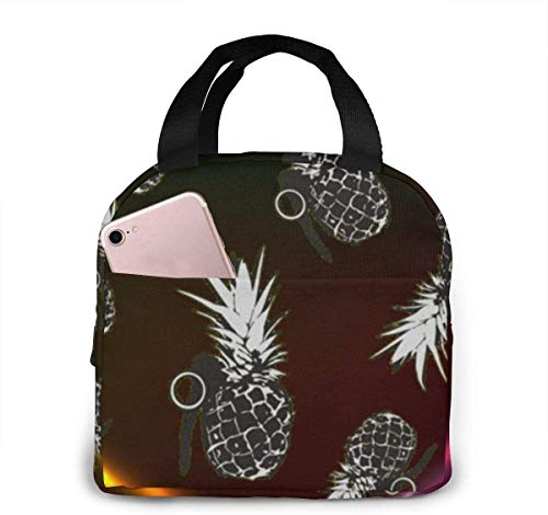 Bolsa de almuerzo de piña con granada, bolsa de almuerzo reutilizable, bolsa de viaje Bento con cordón de picnic, bolsillo frontal