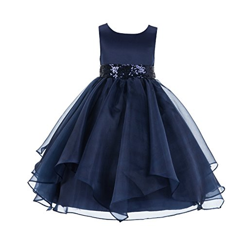 ekidsbridal Asymmetric Ruffled Organza Sequin Flower Girl Dress Toddler Girl Dresses 012S 12