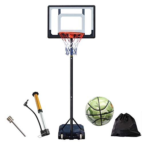 """Jeeys In Ground Portable Hoop & Goal Basketball System Height Adjustable 66""""-100"""" Come with Basketball & Ball Pump & Waterproof Bag for Youth Kids Indoor Outdoor Use (Black)"""