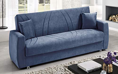 Dafne Italian Design Divano Letto 3 posti. Tessuto Maya Blue (cm. 225 x 87 x 92h)