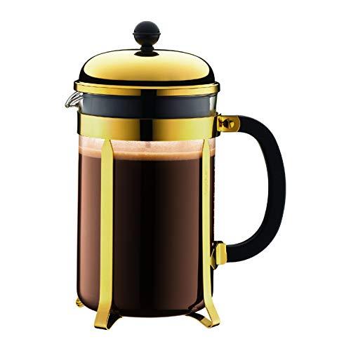 Bodum Chambord Kaffeebereiter 12 Tassen mit Metallrahmen, Chrom, Gold, 12.4 x 19.3 x 25.3 cm