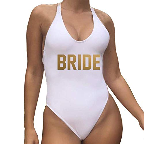 Yarsiman White Bride One Piece Swimsuit Full Lined Underwire Double Strappy Back Cross Back Bathing Suit