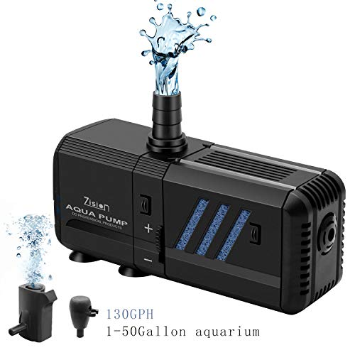 zision Fish Tank Water Pump with Filter(6W-500L/H), Super Quiet Aquarium Air Bubble Water Circulation System Oxygen Charging WaveMaker Filtering for Home/Office