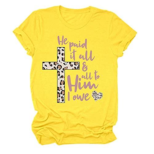 Él le pagó todo y a él, le debo la camiseta de Pascua de Leopard Religiosa (Color : Yellow, Size : M)