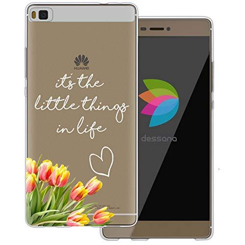 dessana Sprüche Weiß transparente Silikon TPU Schutzhülle 0,7mm dünne Handy Tasche Soft Case für Huawei P8 It's The Little Things in Life