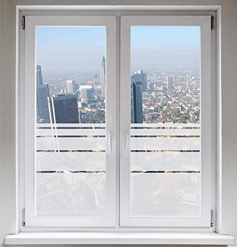 INDIGOS UG Sichtschutzfolie - Fensterfolie - Glasdekorfolie - Dynamische Streifen satiniert blickdicht - individuelle Größen