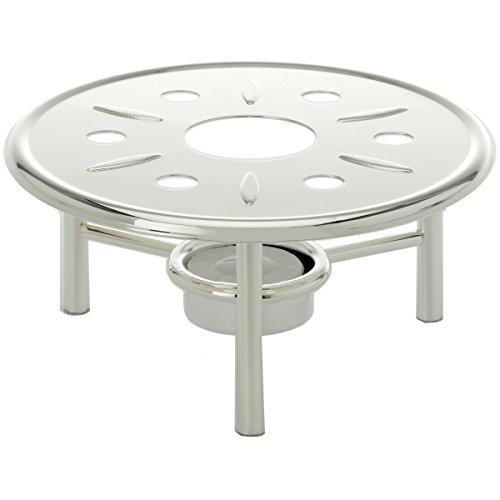 Stoofje rond H 7 cm D 16 cm zilver plated verzilverd. Voor koffiepot of theepot