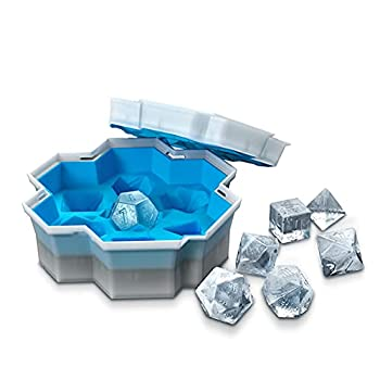 DND Dice Ice Mold Easy-Release Silicone & Flexible Silicone 7-Ice Cube Tray for Cocktail Freezer Stackable Ice Trays with Covers for Dungeons and Dragons D&D Fruit/Juice/Mint/Coffee Dice