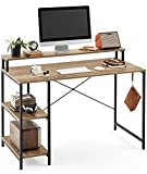 LINSY HOME Computer Desk with Shelves, 47 Inch Work Table for Home Office, Laptop Table with Monitor Stand for Small Spaces, Rustic Oak Finished