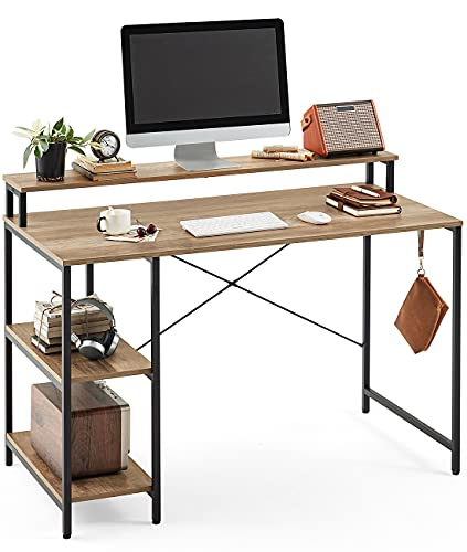 Linsy Home Computer Desk with Simple Shelves, 47 Inch Writing Laptop Table for Office Home Small Space, LS209V2-A (with Monitor Stand)