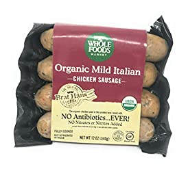 Whole Foods Market, Organic Chicken Sausage, Mild Italian (GAP - Step 3), 12 Ounce