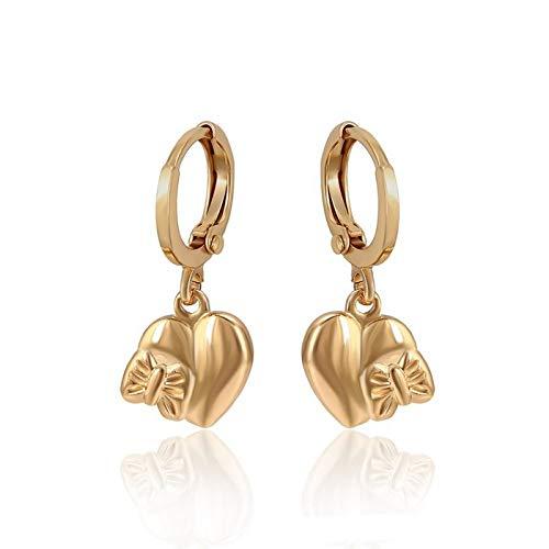 Pendientes de aro con forma de corazón y mariposa, oro amarillo 750 laminado*