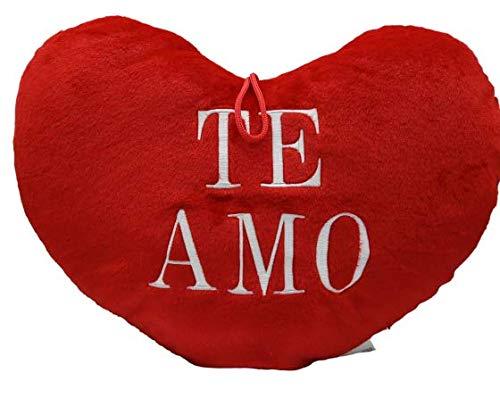 ML Cojin de Corazon Rojo con Frase de Amor, te Amo 35cm