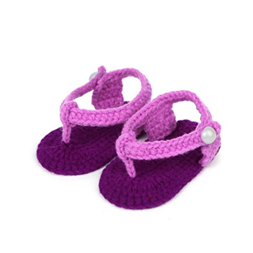 Roses Infant Shoes,Kimanli Crib Crochet Casual Baby Girls Handmade Knit Sock (Purple)