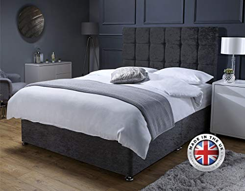 Revive Direct Premium - Black Crush Velvet Double Bed with Mattress, Headboard and 4 Storage Drawers - Memory Foam Mattress Included - (4ft6 Double - 4 Drawers)