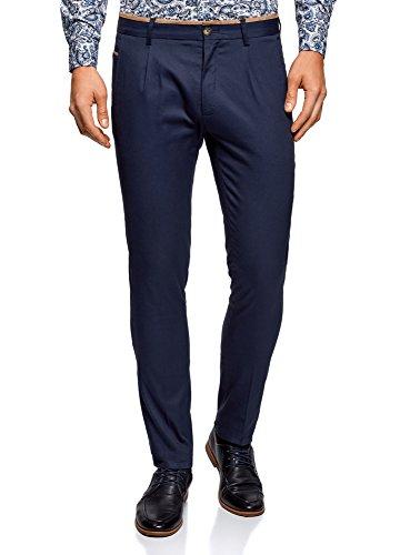 oodji Ultra Hombre Pantalones de Algodón con Acabado en Contraste, Azul, ES 44 (L)