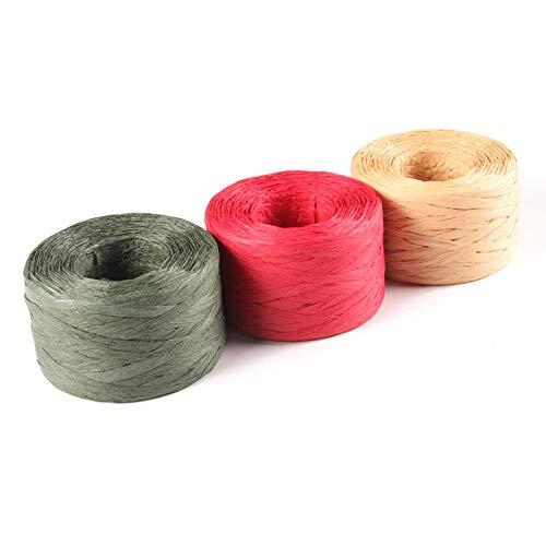 G2PLUS Bast Papierband 200 M, Bast Geschenkband 3 Rollen Raffiabast Papier Schnur für Basteldekoration, Geschenkverpackung, Weben, Bündeln (Rot-Grün-Braun)