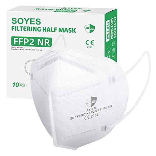 FFP2 Maske CE Zertifiziert - SOYES 10 Stück KN95 Maske - 5-lagige FFP2 Mundschutzmasken - FFP2 Atemschutzmaske Masken Gesichtsmaske EN 149 Staubschutzmaske Schwarz