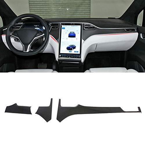 HIGH FLYING Interieur Dekor ABS Kunststoff Kohlefaserfarbe für Tesla Model S 12-19/ Model X 16-19 (Armaturenverkleidung)