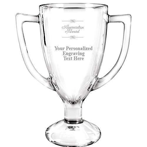 Personalized Glass Trophy, 7  Custom Engraved Appreciation Glass Cup Award