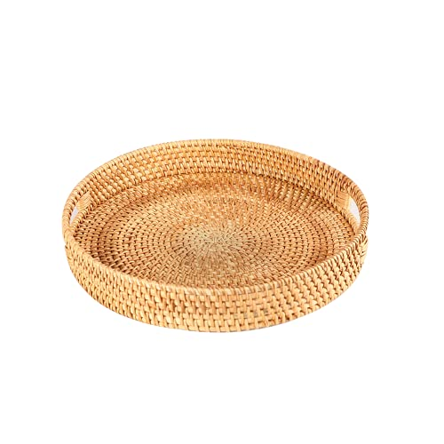 Rattan Round Serving Tray, Rattan Serving Tray with Handles, Handmade Woven...