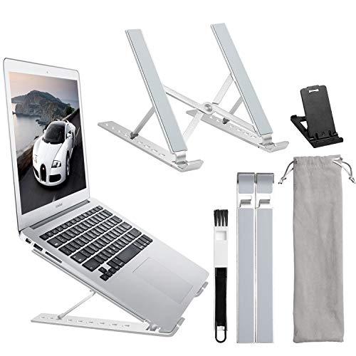 Icnow Supporto PC Portatile, Supporto Laptop Angolazione Regolabile Pieghevole Antiscivole, Ventilato Riser Laptop in Alluminio da 11-17 Pollici per MacBook PRO/Air, Notebook Tablet, iPad (Argento)