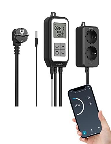 Termostato Enchufe WiFi, Maxcio Controlador de Temperatura Digital con 2 Salidas de Relé Dual, Termostato Calefacción Programable Compatible con Alexa/Google Home para Frigorifico, Acuario, In