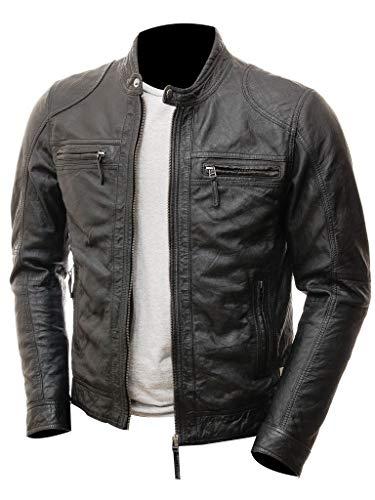 HIGOBO Genuine Black Leather Jacket Men Cafe Racer Lambskin Leather Jacket Men Distressed Leather Motorcycle Jacket (Large - for Chest 42-44, Black)