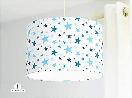 Kinderzimmerlampe mit Sternen in Blau aus Baumwollstoff - alle Farben möglich