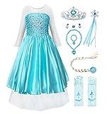 JerrisApparel Prinzessin Kostüm Karneval Verkleidung Party Kleid (110, Blau ELSA mit Zubehör)