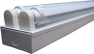ORILIS White 1-Pack, 2-Pack, 5-Pack, 10-Pack - 8 Ft 4 Light LED Commercial Flush Mount T8 Lighting Fixture Kit - 5000K Daylight with (4) 4 Ft LED Tubes Included (1-Pack)