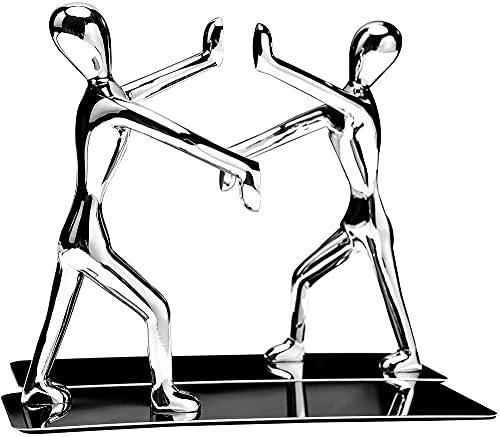 Sujetalibros de acero inoxidable resistentes de Kung Fu Man antideslizantes para el hogar, oficina, biblioteca, escuela, sujetalibros decorativos (Kung Fu Man Silver)
