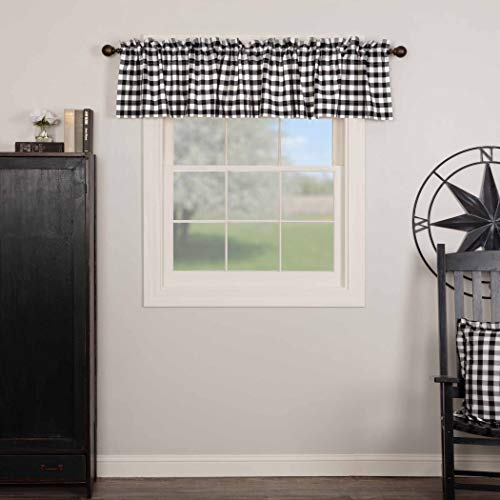 VHC Brands Annie Buffalo Check Curtain, Valance 16x90, Black